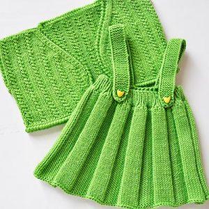 بافت ست دامن و جلیقه سبز کودک